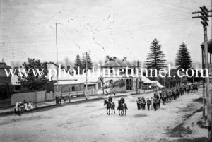Military procession in Raymond Terrace, NSW, November 8, 1913.