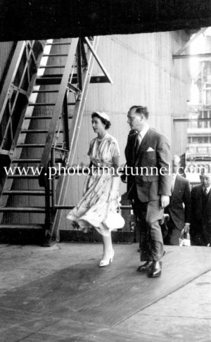 Queen Elizabeth II and Prince Philip at BHP steelworks, Newcastle, NSW, February 9, 1954. (10)