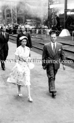 Queen Elizabeth II and Prince Philip at BHP steelworks, Newcastle, NSW, February 9, 1954. (13)