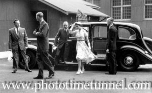Queen Elizabeth II and Prince Philip at BHP steelworks, Newcastle, NSW, February 9, 1954. (22)