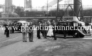 Queen Elizabeth II and Prince Philip at BHP steelworks, Newcastle, NSW, February 9, 1954. (23)