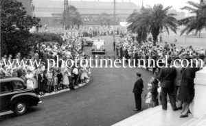 Queen Elizabeth II and Prince Philip arriving at BHP steelworks, Newcastle, NSW, February 9, 1954.