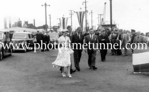 Queen Elizabeth II and Prince Philip at BHP steelworks, Newcastle, NSW, February 9, 1954. (8)
