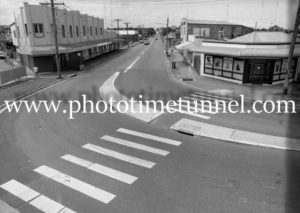 View of shops on Hanbury Street, Mayfield, Newcastle, NSW, 1992.