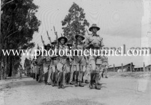 Australian troops marching during training at Port Stephens, NSW, during World War 2.