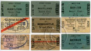 South Maitland Railway tickets (front)