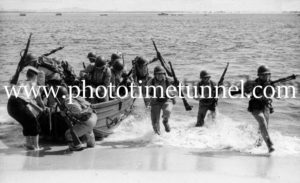 US troops practice landing at Port Stephens, NSW, during World War 2.