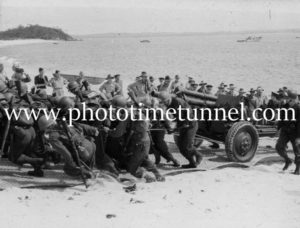 US troops practice landing artillery at Port Stephens, NSW, during World War 2.