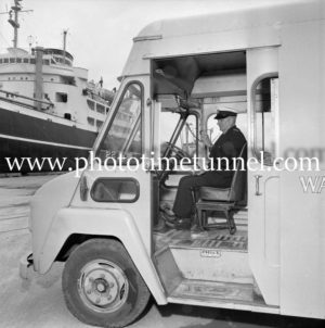 Bert Snow in a waterfront ambulance at Newcastle, NSW, June 7, 1967. (2)