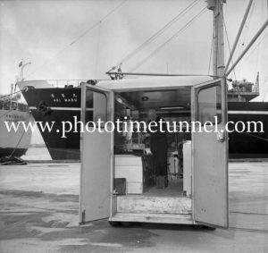 Bert Snow in a waterfront ambulance at Newcastle, NSW, June 7, 1967. (3)