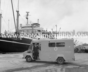 Bert Snow in a waterfront ambulance at Newcastle, NSW, June 7, 1967. (5)