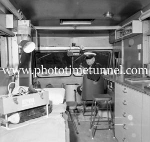 Bert Snow in a waterfront ambulance at Newcastle, NSW, June 7, 1967 (1).