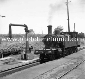 Locomotive 3046 near water tank at Broadmeadow yard
