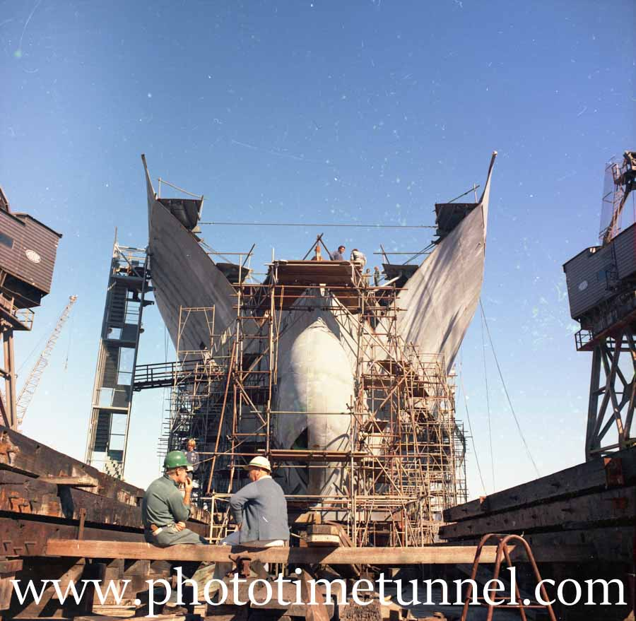 Construction of the ship Bass Trader at Newcastle State Dockyard, NSW, 1970s.