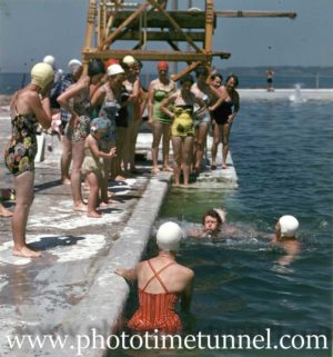 Swimming lessons at Newcastle Ocean Baths, NSW, circa 1959.