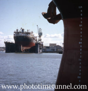 Ship in floating dock, Newcastle, NSW, 1970s.