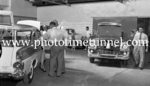 New FB Holdens on show at Newcastle, NSW, car dealership McLeod Kelso and Lee, January 14, 1960. (2)