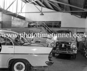 New FB Holdens on show at Newcastle, NSW, car dealership McLeod Kelso and Lee, January 14, 1960. (3)