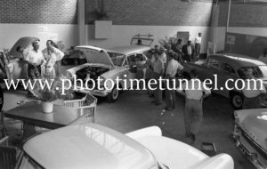 New FB Holdens on show at Newcastle, NSW, car dealership McLeod Kelso and Lee, January 14, 1960. (7)