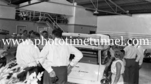 New FB Holdens on show at Newcastle, NSW, car dealership McLeod Kelso and Lee, January 14, 1960. (4)