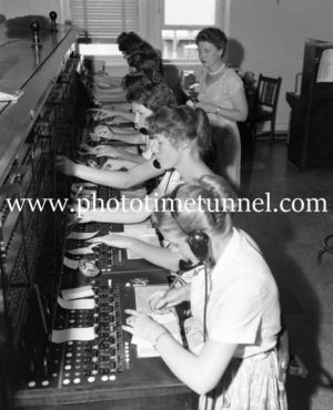 Trunk line operators at Newcastle Post Office in 1959