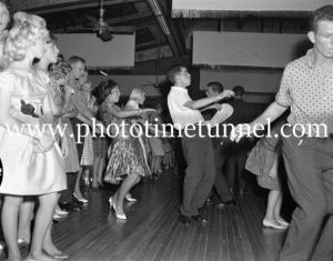 Dancing the twist at the Strand Theatre, Newcastle, NSW, January 1961.