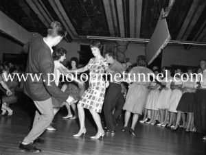 Dancing the twist at the Strand Theatre, Newcastle, NSW, January 1961. (1)