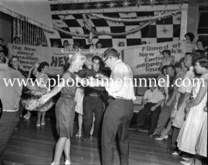 Dancing the twist at the Strand Theatre, Newcastle, NSW, January 1961. (10)