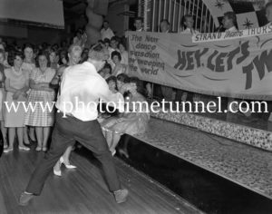 Dancing the twist at the Strand Theatre, Newcastle, NSW, January 1961. (3)