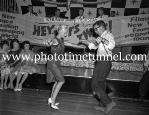 Dancing the twist at the Strand Theatre, Newcastle, NSW, January 1961. (4)