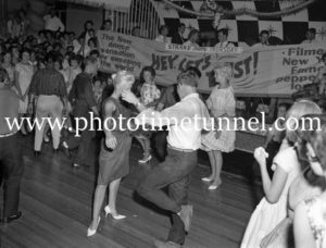 Dancing the twist at the Strand Theatre, Newcastle, NSW, January 1961. (7)