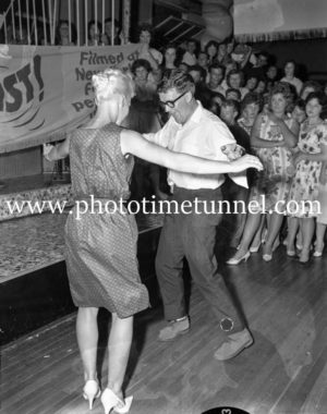 Dancing the twist at the Strand Theatre, Newcastle, NSW, January 1961. (8)