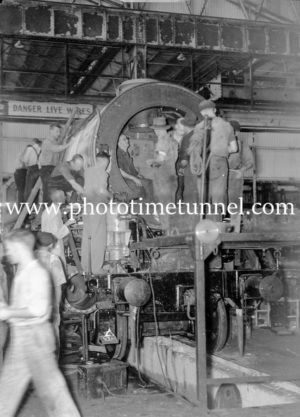 Building locomotive 3807 at Cardiff Railway Workshops, NSW, February 15, 1946 (1)