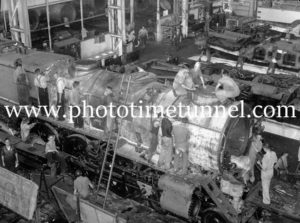Building locomotive 3807 at Cardiff Railway Workshops, NSW, February 15, 1946 (2)