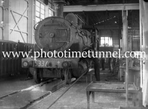 Locomotive 5337 at Cardiff Railway Workshops, Newcastle, NSW, 1937.
