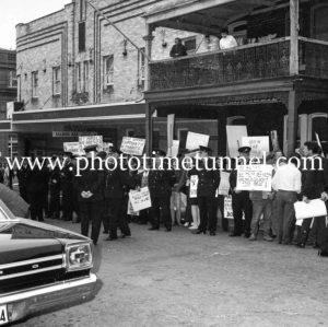 Protesters await Australian Prime Minister Harold Holt in Newcastle, NSW, September 1967. (1)