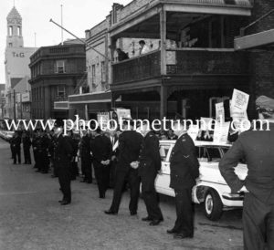 Protesters await Australian Prime Minister Harold Holt in Newcastle, NSW, September 1967. (2)