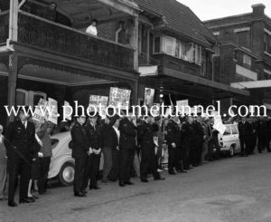 Protesters await Australian Prime Minister Harold Holt in Newcastle, NSW, September 1967 (6).