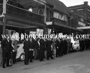 Protesters await Australian Prime Minister Harold Holt in Newcastle, NSW, September 1967 (6).