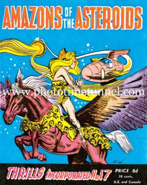 Amazons of the Asteroids, vintage cover art for pulp science fiction magazine