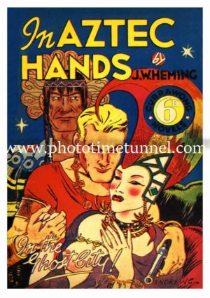 In Aztec Hands, vintage cover art for pulp novel