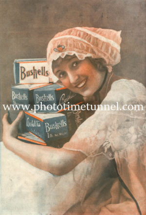Vintage Bushells Tea advertisement, woman with boxes of tea