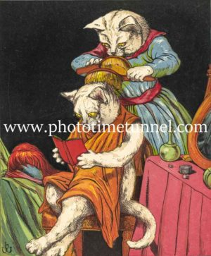 Cats brushing hair vintage book illustration