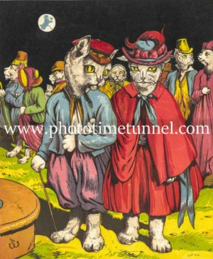 Cats in evening wear, vintage book illustration