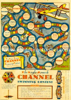 The Anglo-French Channel swimming contest board game