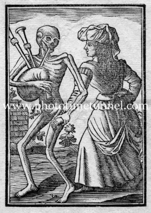Death and the maiden. Der Tod zur Heydin, from The Dance of Death, antique book.