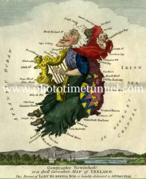 Geography Bewitched, droll caricature map of Ireland. Circa 1790s, by Robert Dighton.