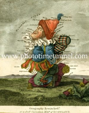 Geography Bewitched, Droll caricature map of Scotland. Circa 1790s, by Robert Dighton.