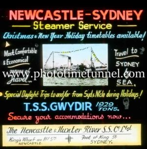 Magic lantern slide advertising steamer service between Newcastle and Sydney