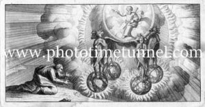 Heavenly spheres, vintage engraving.